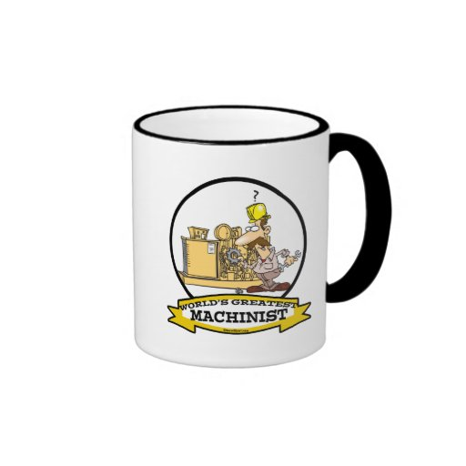 WORLDS GREATEST MACHINIST MEN CARTOON RINGER COFFEE MUG
