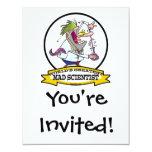 "WORLDS GREATEST MAD SCIENTIST MEN CARTOON 4.25"" X 5.5"" INVITATION CARD"