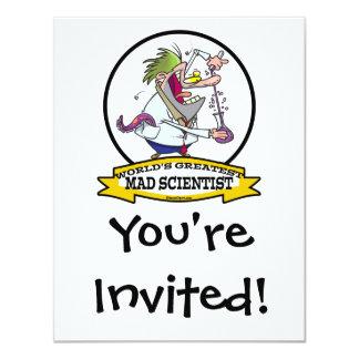 WORLDS GREATEST MAD SCIENTIST MEN CARTOON 4.25X5.5 PAPER INVITATION CARD