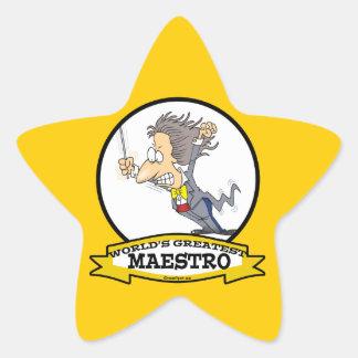 WORLDS GREATEST MAESTRO MEN CARTOON STAR STICKER