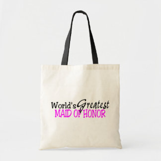 Worlds Greatest Maid Of Honor Pink Black Canvas Bags