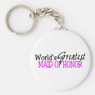 Worlds Greatest Maid Of Honor Pink Black Keychains