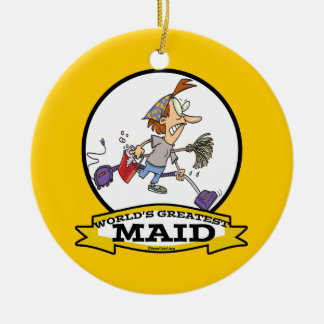 WORLDS GREATEST MAID WOMEN CARTOON CHRISTMAS ORNAMENTS