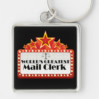 World's Greatest Mail Clerk Silver-Colored Square Keychain