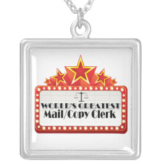 World's Greatest Mail/Copy Clerk Silver Plated Necklace