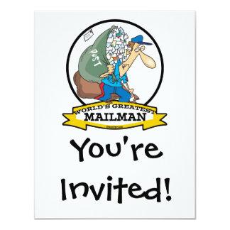 WORLDS GREATEST MAILMAN MEN CARTOON 4.25X5.5 PAPER INVITATION CARD