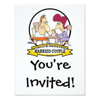 WORLDS GREATEST MARRIED COUPLE SARCASM CARTOON 4.25X5.5 PAPER INVITATION CARD