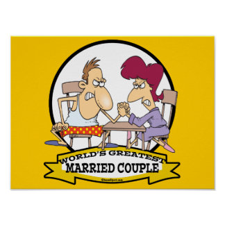 WORLDS GREATEST MARRIED COUPLE SARCASM CARTOON PRINT