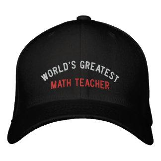 WORLD'S GREATEST, MATH TEACHER EMBROIDERED BASEBALL HAT