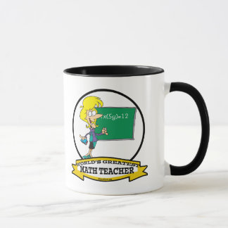 WORLDS GREATEST MATH TEACHER WOMEN CARTOON MUG