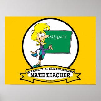 WORLDS GREATEST MATH TEACHER WOMEN CARTOON POSTERS