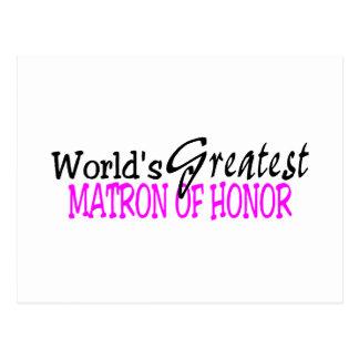 Worlds Greatest Matron of Honor Postcard