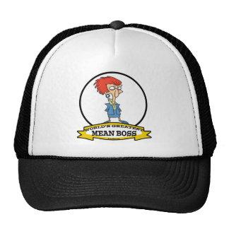 WORLDS GREATEST MEAN BOSS LADY CARTOON TRUCKER HATS