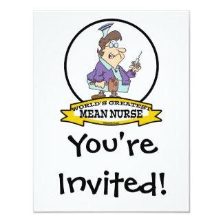 "WORLDS GREATEST MEAN NURSE RN WOMEN CARTOON 4.25"" X 5.5"" INVITATION CARD"
