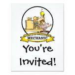 "WORLDS GREATEST MECHANIC MEN  CARTOON 4.25"" X 5.5"" INVITATION CARD"