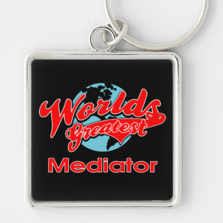 World's Greatest Mediator Silver-Colored Square Keychain