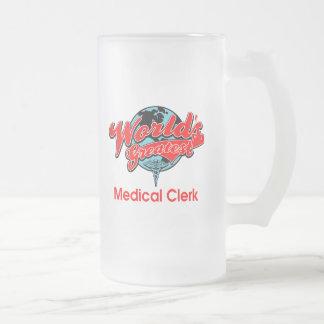 World's Greatest Medical Clerk Frosted Glass Beer Mug