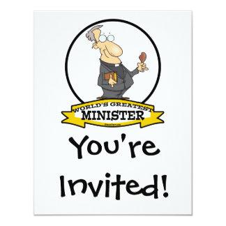WORLDS GREATEST MINISTER CARTOON 4.25X5.5 PAPER INVITATION CARD