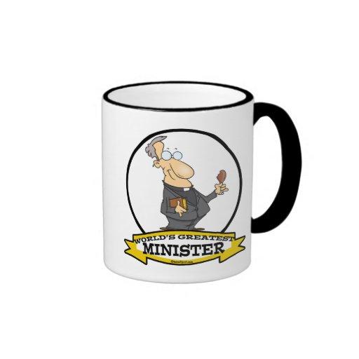 WORLDS GREATEST MINISTER CARTOON RINGER COFFEE MUG