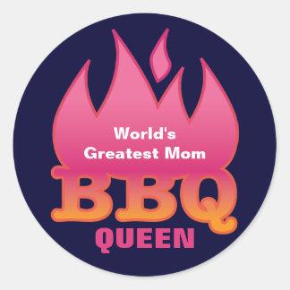 World's Greatest Mom BBQ QUEEN Round Sticker