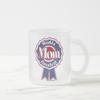 Worlds Greatest Mom Blue Ribbon Frosted Glass Coffee Mug