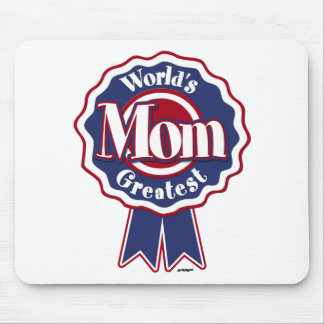 Worlds Greatest Mom Blue Ribbon Mouse Pad