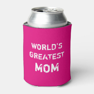 World's Greatest Mom can cooler in neon pink