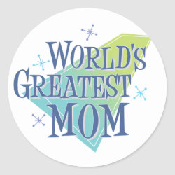 Round Sticker with World's Greatest Mom design