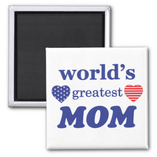 WORLDS GREATEST MOM. CUSTOMIZABLE BACKGROUND 2 INCH SQUARE MAGNET