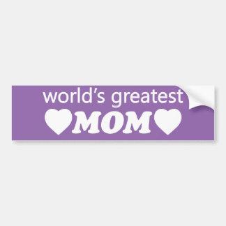 WORLDS GREATEST MOM. CUSTOMIZABLE BACKGROUND BUMPER STICKER