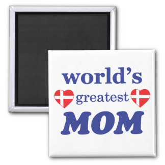 WORLDS GREATEST MOM - DANISH FLAGS 2 INCH SQUARE MAGNET