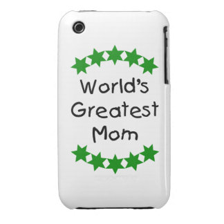 World's Greatest Mom (green stars) iPhone 3 Cover