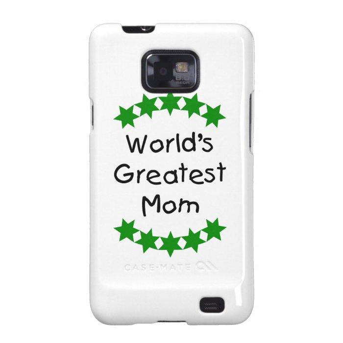 World's Greatest Mom (green stars) Samsung Galaxy S2 Case