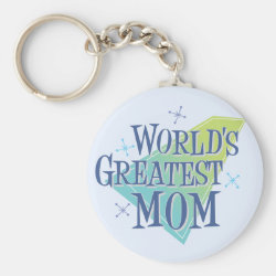 Basic Button Keychain with World's Greatest Mom design