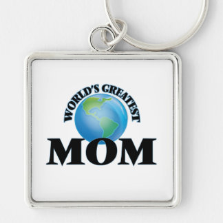 World's Greatest Mom Silver-Colored Square Keychain