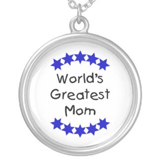 World's Greatest Mom (navy stars) Round Pendant Necklace