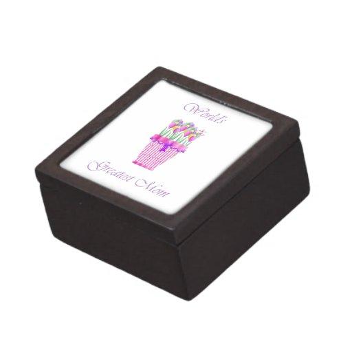 World's Greatest Mom (pink flowers) Premium Keepsake Box