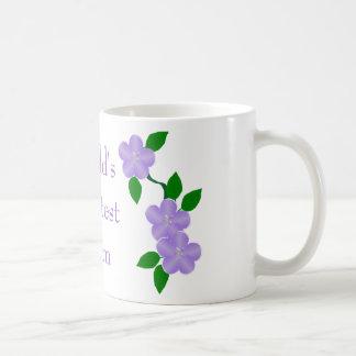 Worlds Greatest Mom Purple Flowers Classic White Coffee Mug