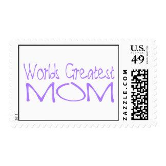 Worlds greatest mom purple postage stamp