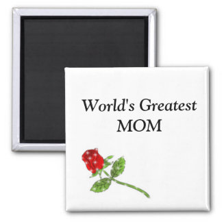 World's Greatest MOM rose 2 Inch Square Magnet