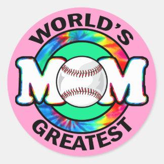 World's Greatest Mom; Softball Classic Round Sticker