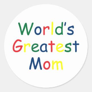 Worlds Greatest Mom Round Stickers