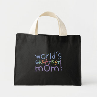 World's Greatest Mom Striped Blue Tote Bag