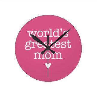 World's Greatest Mom with Heart Wall Clock