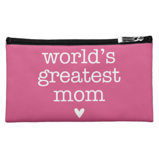 World's Greatest Mom with Heart Cosmetic Bag