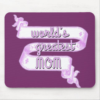 World's Greatest Mom with Ribbon Banner Mouse Pad