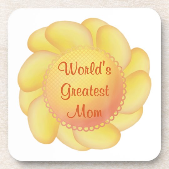World's Greatest Mom (yellow flower) Beverage Coaster