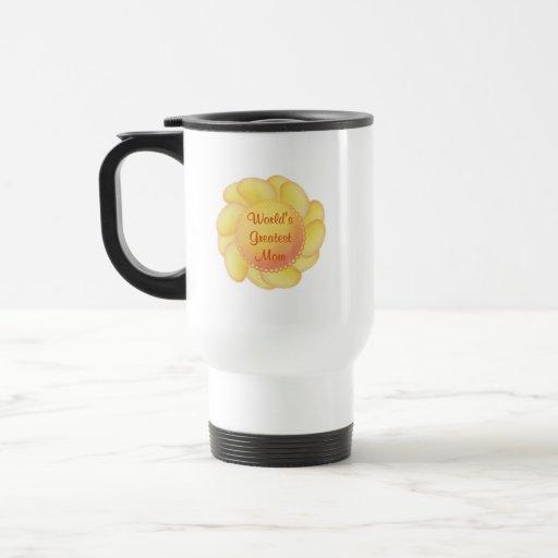 World's Greatest Mom (yellow flower) 15 Oz Stainless Steel Travel Mug