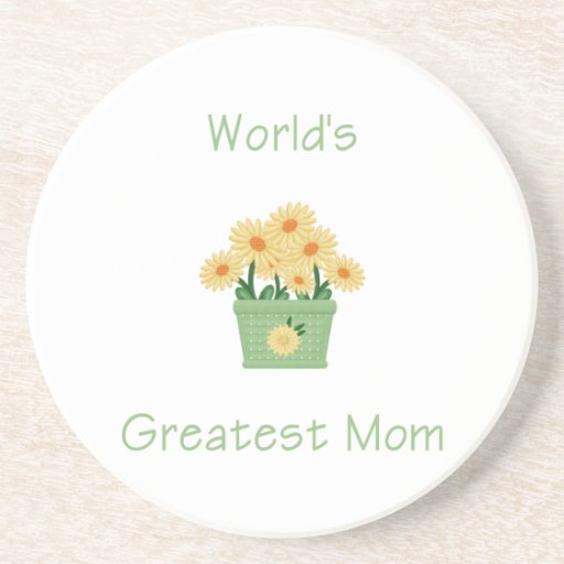 World's Greatest Mom (yellow flowers) Beverage Coaster
