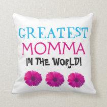 World's Greatest Momma Throw Pillow